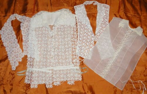 VINTAGE LACE DICKEY & VEST & COLLARS LOT (4)