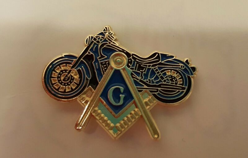 Masonic Square & Compass with Motorcycle lapel pin