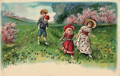 Postcard Art Children Walking Through A Field Beautifully Colored and Embossed