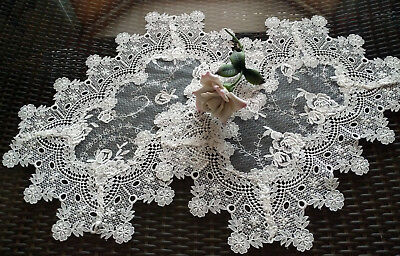 Doilies Set of 2 Place mat  End Table Sheer Lace Vintage English Rose Victorian