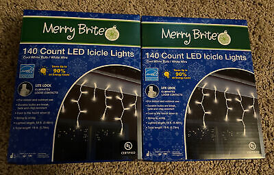 MERRY BRITE 280 ct. cool white LED STRING Icicle LIGHTS INDOOR OUTDOOR 19' lot 2