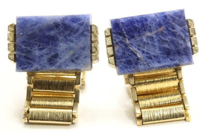 Vintage Dante Gold Tone Sodalite Blue Gemstone Chain Wrap Cufflinks
