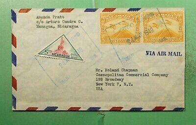 DR WHO 1949 NICARAGUA MANAGUA AIRMAIL TO USA TRIANGLE  g20861
