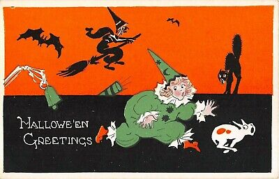 C Clown Halloween (c.1920 Clown Girl Witch on Broom Black Cat Halloween Greetings post card)