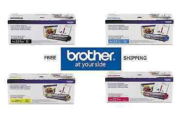 4-Pack GENUINE BROTHER OEM TN221BK TN221C TN221Y TN221M TONER SET - SEALED