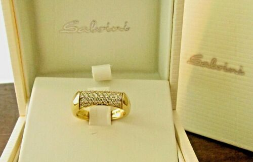Salvini 18K Yellow Gold Diamond Pave Band Ring