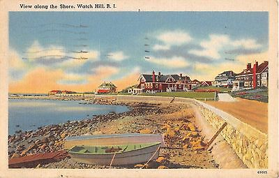 1940's? Homes along the Shore Watch Hill RI post card Linen