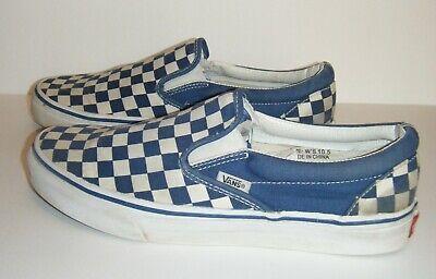 VANS Classic Slip On Navy Blue Checkered Canvas Skate Shoes Women's 10.5 Checker