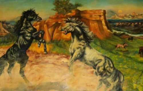 1974 SUSAN WILD HORSES PONY MARE STALLION OIL CANVAS PAINTING COWBOY WESTERN ART