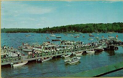 1965 Aerial View Boats Dock Weirs Beach Lake Winnipesaukee NH Postcard A15