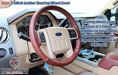 2011-2012 Ford F250 F350 King Ranch-Leather Steering Wheel Cover- 2-Stitch -