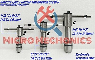 Ratchet Type T Handle Tap Wrench Set Capacity 116 To 12 Inch 1.5 To 12.7mm