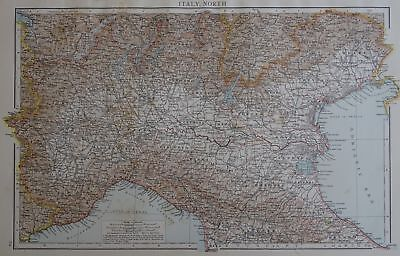 Victorian Map 1896 of NORTH ITALY The Times Atlas 1st Gen