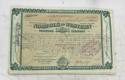 Norfolk & Western Railway Stock Certificate Railroad Southern 1880's  Western Railway Stock