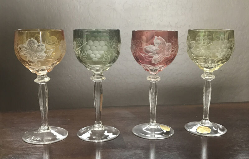 Set of 4 Bohemian Crystal Cut to Clear Multi Color Wine Goblets Stem Glass