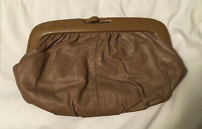 VINTAGE Brown CLUTCH LADIES HANDBAG WOMEN'S PURSE