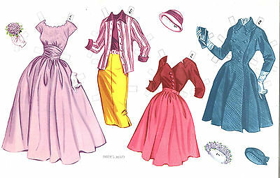 VINTAGE UNCUT 1950S BRIDAL PARTY PAPER DOLLS ~JAYMAR ORG SZE~LASER REPRODUCTION