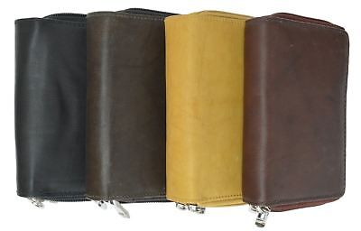 (Accordion Style Ladies Genuine Leather Double Zipper Womens Purse Tan Wallet New)