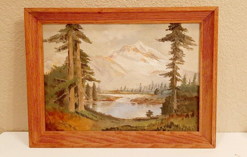 Antique CALIFORNIA plein air landscape painting Mount Shasta 1881 original frame