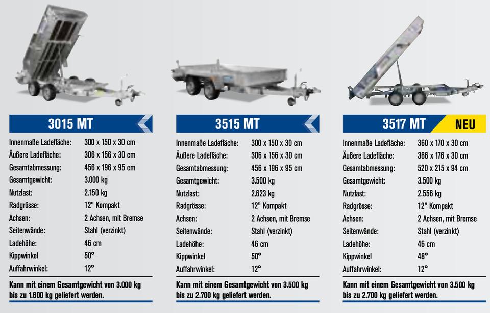 ⭐Variant e-Maschinen-Kipper 3015MT 3000kg 300x150x30cm Blattfeder in Schöneiche bei Berlin