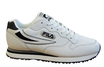 Fila Eurowedge MB White Leather Lace Up Mens Running Trainers 12J300LT 147