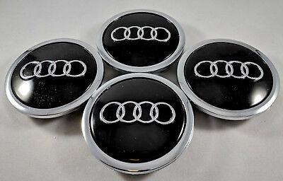 4 PC Black + Chrome For Audi Wheel Center Replacement Hub Cap 69MM 4B0601170A