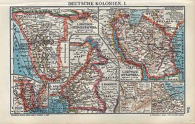 Landkarte map 1910: DEUTSCHE KOLONIEN. I/II.Südwest-Ostafrika Kamerun Samoa