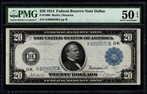 1914 $20 Dallas FRN PMG 50 EPQ Fr.1006 Item #5014390-001