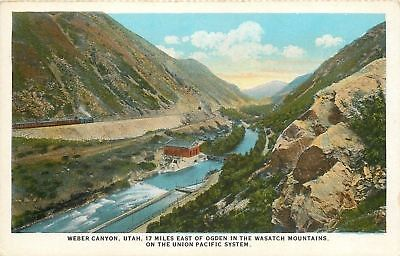 Weber Canyon Wasatch Mountains 1920S Union Pacific Postcard