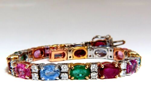 22.90ct Natural Sapphires Emeralds Ruby Diamond Tennis Bracelet 14 Karat