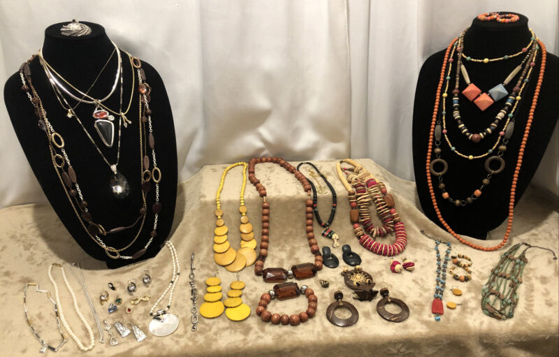 Vintage Jewelry Lot Fall Inspired Necklaces Bracelets Pendants Stone Wood 43 Pc