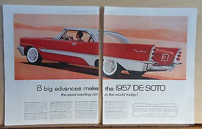 1957 two page magazine ad for DeSoto - Fireflite, Eight Big Advances, colorful