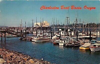 Charleston Boat Basin Oregon OR small boats South Slough Coss Bay Postcard