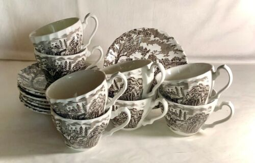 8 Myott Brown Royal Mail Cups & Saucers