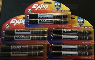 Expo Dry-erase Markers With Ink Indicator Chisel Tip Black Pack Of 2-lot Of 5
