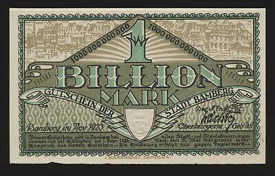 Bayern Bamberg 1 Billion Mark Nov. 1923  MUSTER ohne KN ohne Nummer mit Wz ( 966