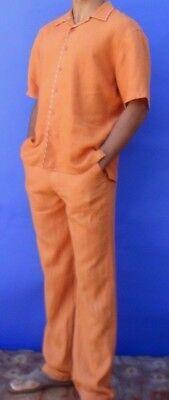 Men's Halloween Costume - Pumpkin Orange Linen Shirt - Convict or Jail Bird ](Jail Man Halloween)