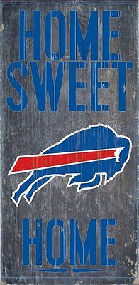 """BUFFALO BILLS HOME SWEET HOME WOOD SIGN and ROPE 12"""" X 6""""  NFL MAN CAVE!"""