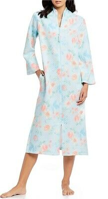 Miss Elaine Coral/Aqua Floral Quilted Knit Zip Front Long Robe S M L XL Nwt - Front Quilted Robe