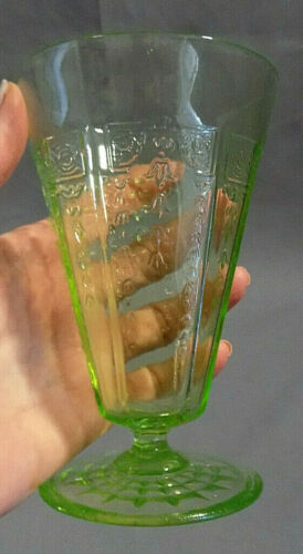 "Vintage Princess Green Depression Large Footed Ice Tea Tumbler 5 3/8"" tall"