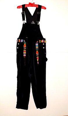 VINTAGE 80's OVERALLS~Soft Black Velvet Cotton SQUEEZE Hippie Punk Free Belt Cotton Soft Overalls
