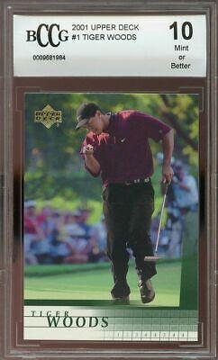 2001 upper deck #1 TIGER WOODS golf rookie card BGS BCCG 10