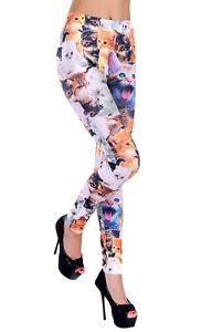 Fashion Women's Cat Print Full Length Skinny Stretch Leggings Pants