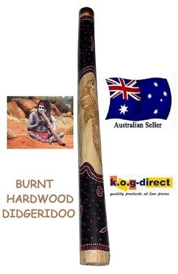DIDGERIDOO BURNT HARDWOOD 90CM ABORIGINAL STYLE BEAUTIFULLY HAND PAINTED NEW BRN
