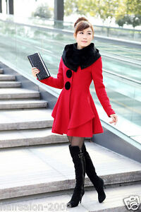 New Women's Slim Rabbit fur collar Warm Winter Woolen Long Coat Jacket Outwear