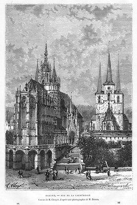 Erfurt, der Domplatz, Original-Holzstich von 1878