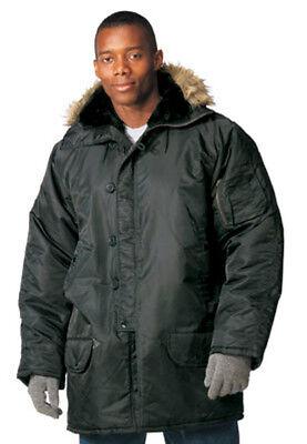 Black N-3b Snorkel Parka (Military N3-B N3B Snorkel Parka Fur Hood Jacket xs-3XL extreme cold weather NWT )