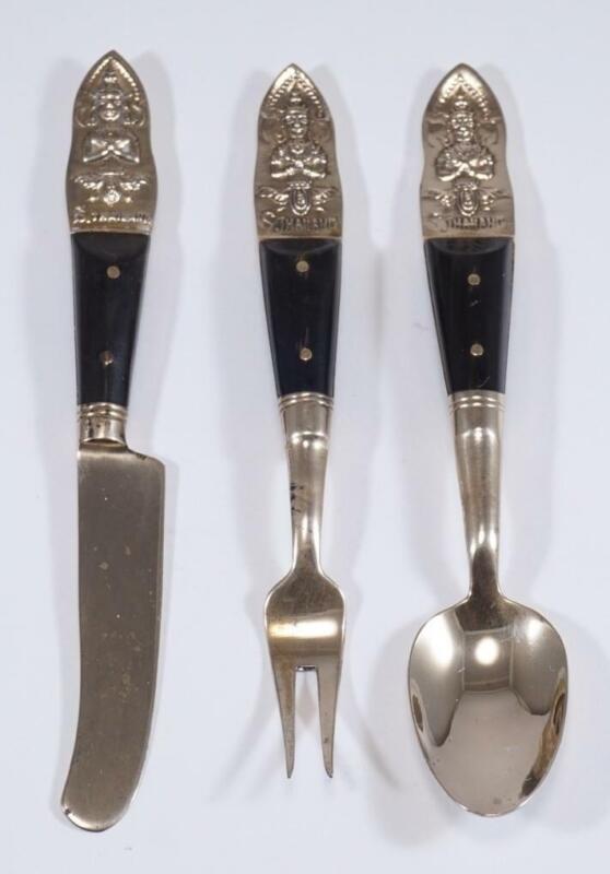 Brass Thailand Buddha Flatware set of 3: Butter Knife, Small Spoon and fork sku1