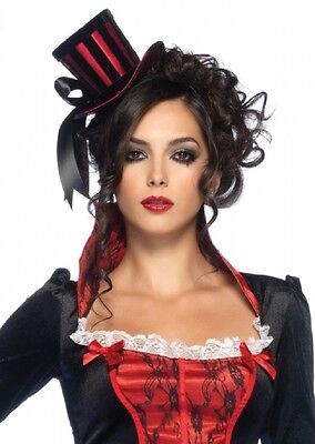 Steampunk Mini Black and Red Striped Satin Top Hat with Ribbon fnt (Striped Top Hat)
