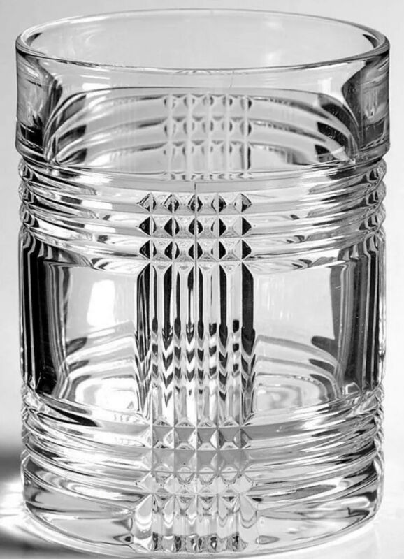RALPH LAUREN Glen Plaid Lead Crystal Whiskey Glasses Double Old Fashioned NEW